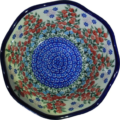 polish-pottery-ceramika-boleslawiec-0423-282-royal-blue-patterns-3-1-4-cup-viki-bowl-red-berries-and