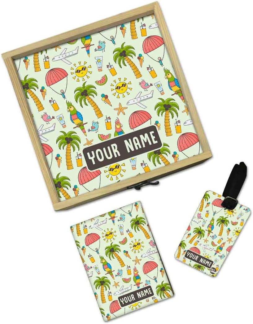 Summer Time Nutcase Personalized Passport Holder Cover Gift Set With Matching Luggage Tag Customized Gifts for Kids And Wooden Box Gifts Set