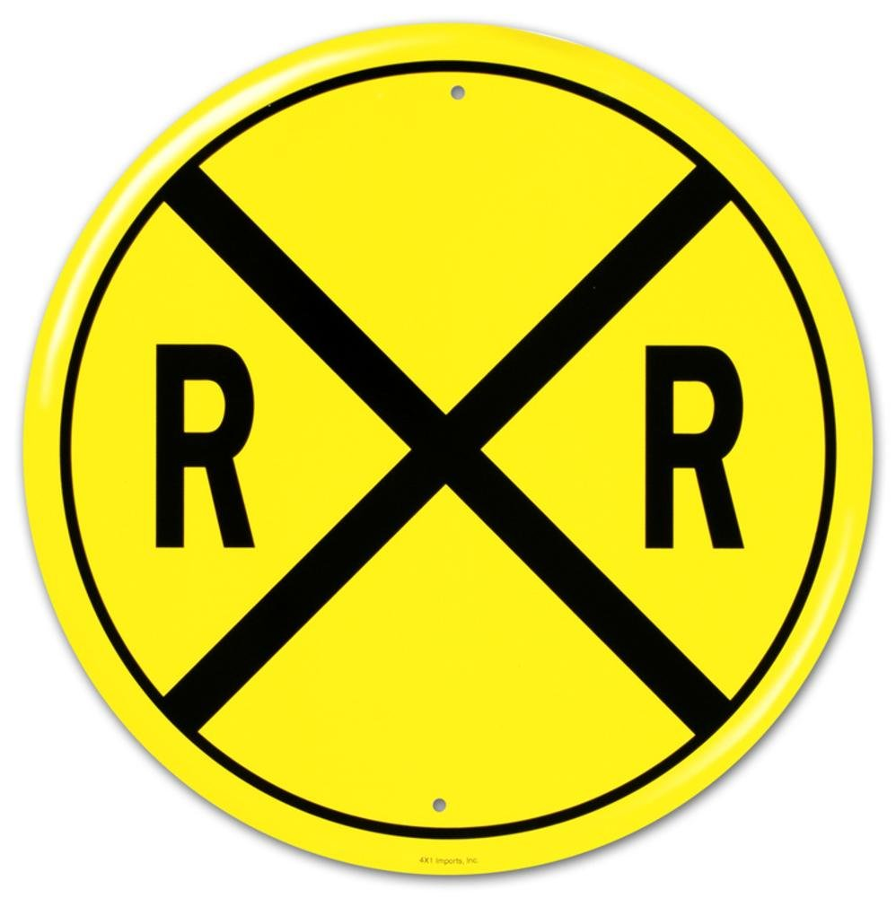 Amazon.com: Railroad Crossing RR X-ing Round Tin Sign: Home & Kitchen
