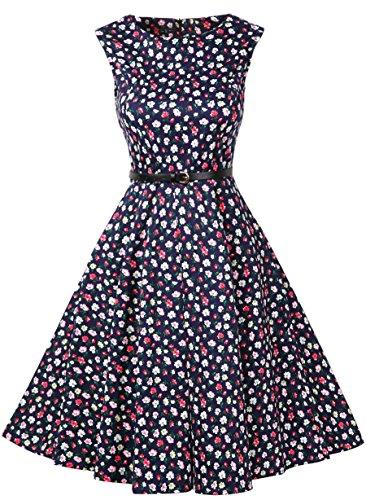 FitDesign Women's 1950s A Line Vintage Dresses Audrey Hepburn Style Floral Party Dress (Medium, - Sale For 1950s Fashion