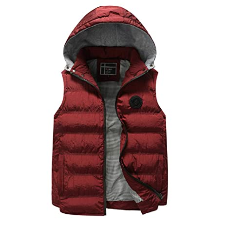 DaySeventh Mens Autumn Winter Coat Padded Cotton Vest Warm Hooded Thick Vest Jacket Top