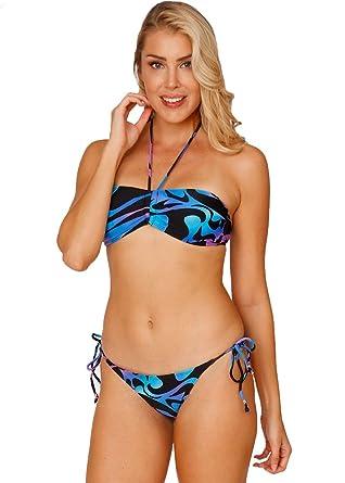 d097101c7ba32 Women s 2 Piece Adjustable String Bandeau Swimsuit Halter Top Bikini Set ( Black and Blue