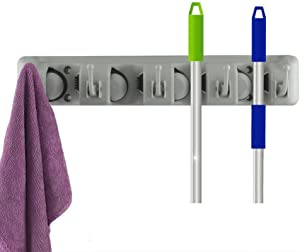 Mop and Broom Holder, Wall Mounted Garden Tool Storage Tool Rack Storage & Organization for Your Home, Closet, Garage and Shed (4-Position)
