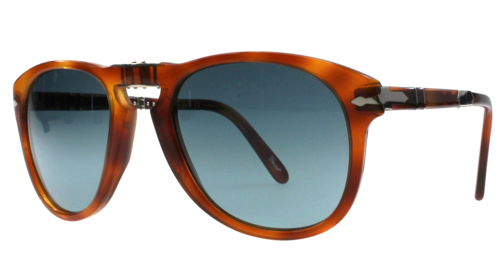 Persol Steve McQueen Polarized 714SM 96/S3 54mm  Folding Sunglasses Limited Edition Light Havana Crystal Gradient Blue