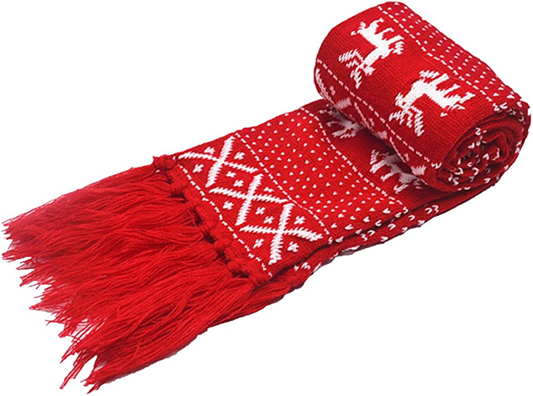 Felice Winter Scarf with Tassel Adult Child Reindeer Snowflake Knit Scarf Lovely Christmas Scarf