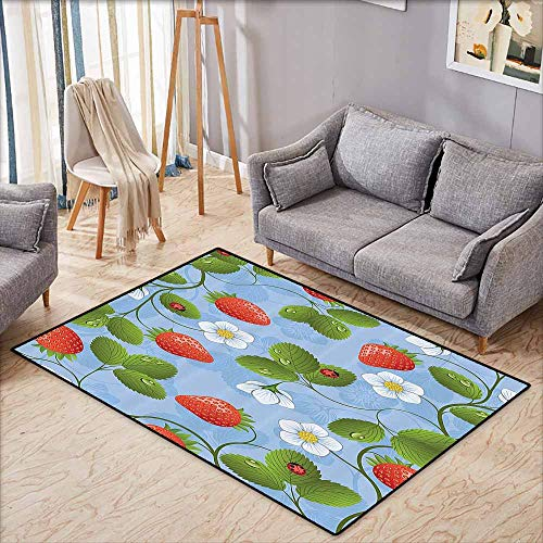 Inner Door Rug Ladybugs Decorations Strawberries Daisies and Ladybugs Looks Like Ivy Plant Spotted Insects Image Blue Green Red Easy to Clean W6'5 xL4'6