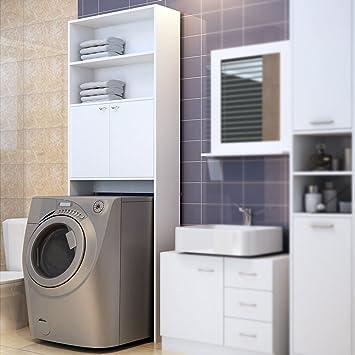Attraktiv Deuba Badezimmerschrank Für Waschmaschine Waschmaschinenschrank    Badschrank Badhochschrank Badregal   195 X 63 X 20 Cm