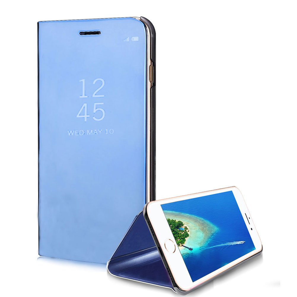Case for iPhone 8 / 7 4.7 inch Mirror Plating Transparent, SKYXD Crystal Clear View Window in Plastic Hard Case Ultra Thin Magnetic Flip Stand Bookstyle Shell Shockproof Protective Cover for Apple iPhone 7 / 8 - Blue