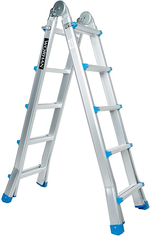 WORHAN® Escalera 530cm Aluminio Telescopica 5.3m Multifuncion Multiuso Aluminio Plegable Tijera L5: Amazon.es: Bricolaje y herramientas