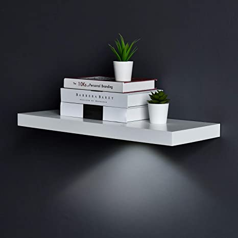 Amazon Com Welland White Floating Shelf With Touch Sensing Battery Powered Led Light Wall Mounted Display Shelves For Entrance Living Room Bedroom Kitchen And Bathroom 24 Inch White Home Kitchen