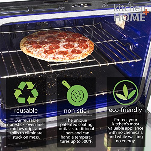 Kitchen + Home Oven Liner Set of 2 – Large Heavy Duty 100% PFOA & BPA Free – FDA Approved Non-stick Reusable Oven Liner for Gas, Electric & Microwave Ovens – Works as Baking Mat & Grill Mat by Kitchen + Home (Image #2)