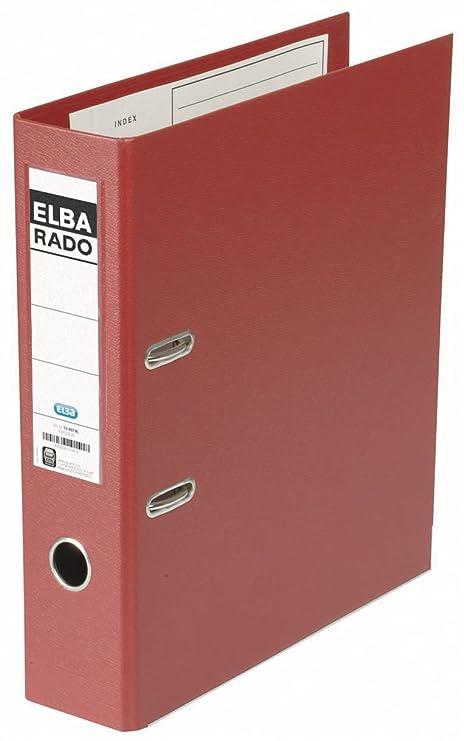 Elba 100022630 - Archivador de plástico, formato A4, 80 mm, color rojo