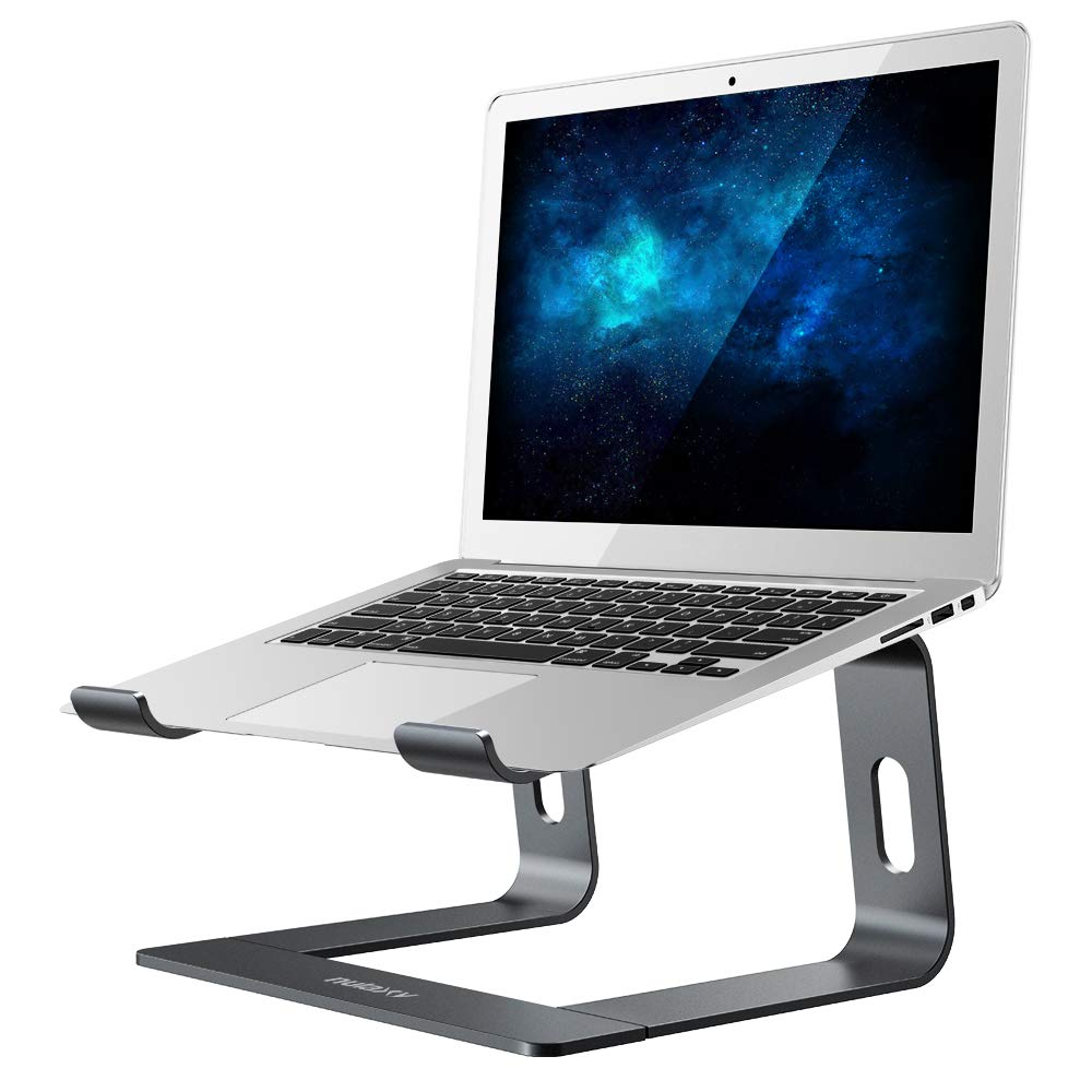 Nulaxy Laptop Stand, Ergonomic Aluminum Laptop Computer Stand, Detachable Laptop Riser Notebook Holder Stand Compatible with MacBook Air Pro, Dell XPS, HP, Lenovo More 10-15.6'' Laptops (A- Space Grey) by Nulaxy