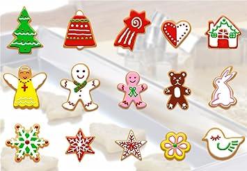 BrilliantDay 15 Piezas Navidad Herramienta de Molde Cortador Acero Inoxidable de Flor de Forma para Galletas Accesorios de Cocina Artesanía de Tartas ...