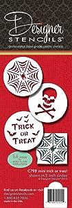 Designer Stencils Mini Trick or Treat Stencil Set, (Spider Web, Skull and Bones, and Trick or Treat) Beige/semi-transparent