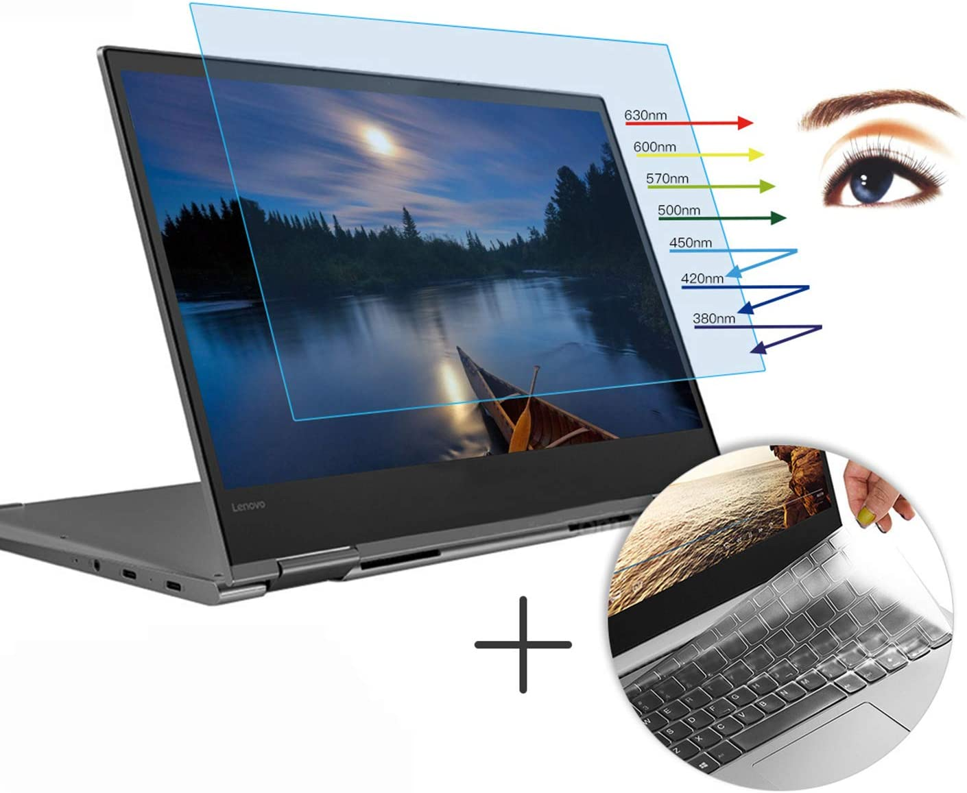 CaseBuy Anti-Glare Screen Protector Eye Protection Blue Light Filter for Lenovo Yoga 730 2-in-1 13.3 Inch & Ultra Thin TPU Keyboard Cover Accessories for Yoga 730 13.3