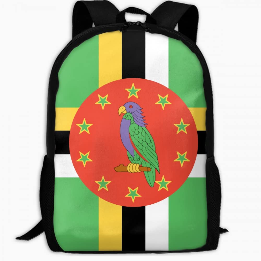 Childrens School Backpack Flag of Dominica Outdoor Travel Backpack Students Backpacks Girls Book Bags Unisex Shoulder Daypack