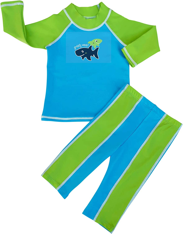 grUVywear Baby | Toddler Boys Rash Guard Long Sleeve Swimsuit Set 2 Piece UPF 50