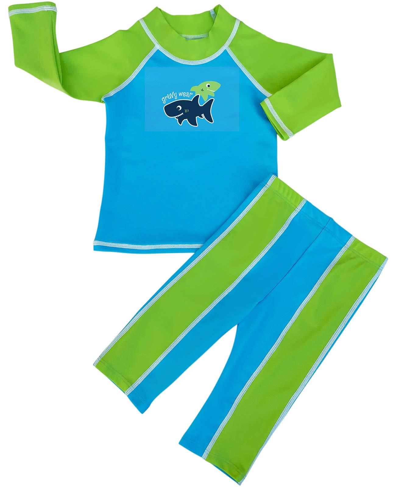 grUVywear Baby | Toddler Boys Rash Guard Long Sleeve Swimsuit Set 2 Piece UPF 50 - Shark Sighting | 12-18 Months by grUVywear