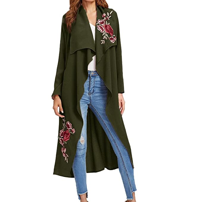 92736f7774 Minisoya Women s Rose Embroidered Cardigan Shawl Floral Applique Long Coat  Outwear Casual Open Front Jacket Poncho
