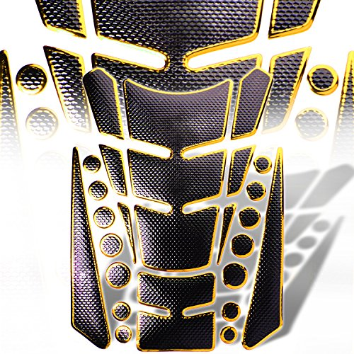 3D 13-Piece Custom Fuel / Gas Tank Pad Protector Decal / Sticker Black + Chromed Gold