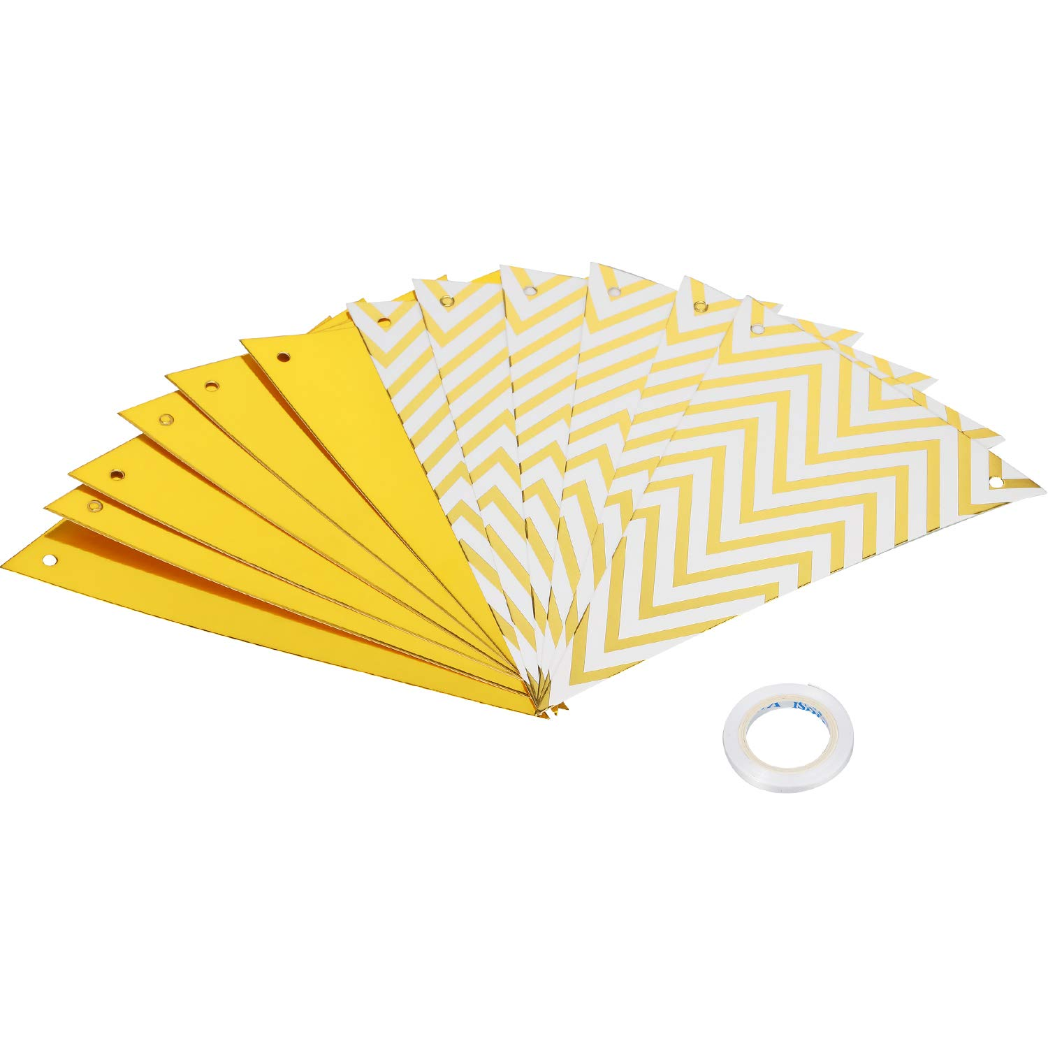 GoldBirthday Balloons Banner Set Glitter Pennant Banner Sparkly Triangle Flags Bunting for Birthday Decorations
