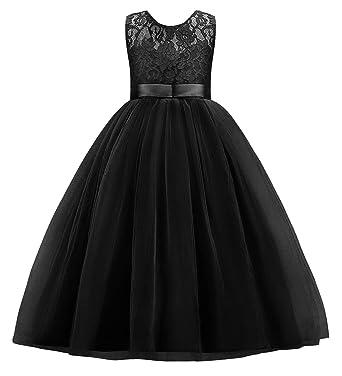 aef8ec6969b Little Big Girls Embroidery Sleeveless Vintage Flower Lace Bridesmaid Dress  Kids Floor Length Dance Long A
