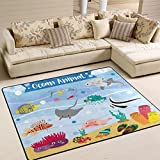 YZGO Ocean Animals Cartoon - Kids Children Area Rugs Non-Slip Floor Mat Resting Area Doormats