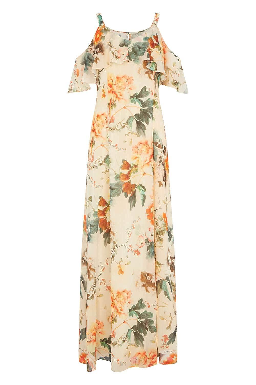 5a5ad8d444f Roman Originals Women Cold Shoulder Chiffon Floral Maxi Dress - Ladies  Loose Boho Bohemian Oriental Summer Short Sleeve Evening Occasion Wedding  Guests ...