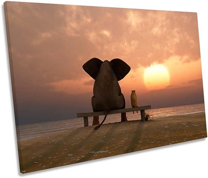 Best Friends Sunset Beach SINGLE CANVAS WALL ART Print Picture