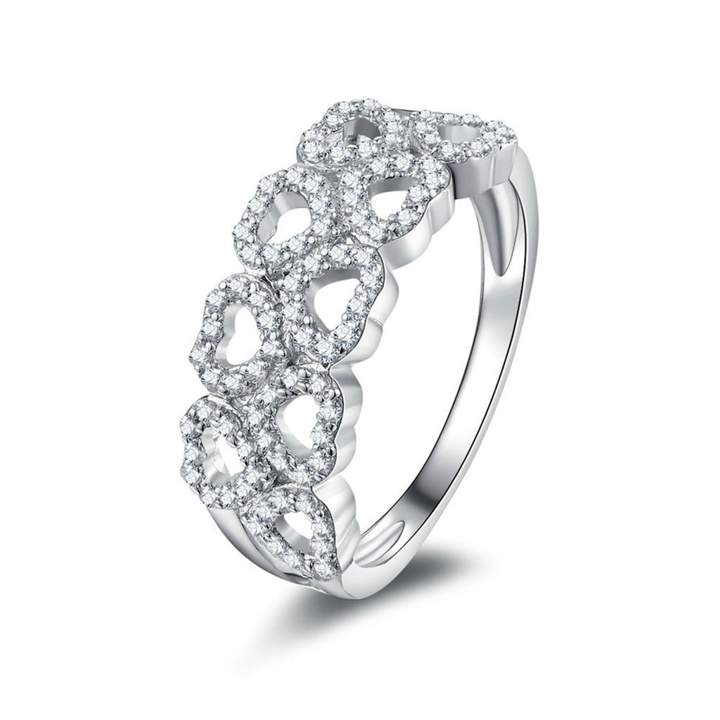 AmDxD Jewelry Silver Plated Women Promise Customizable Rings Hollow Heart CZ Size 10.5