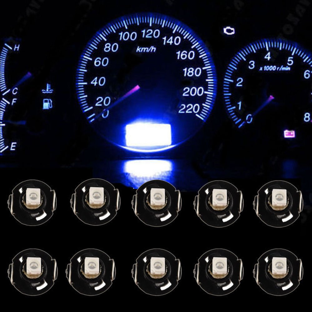 HOUTBY 10 X Blue Car T4//T4.2 Neo Wedge LED Bulb Cluster Instrument Dash Climate Gauge Light