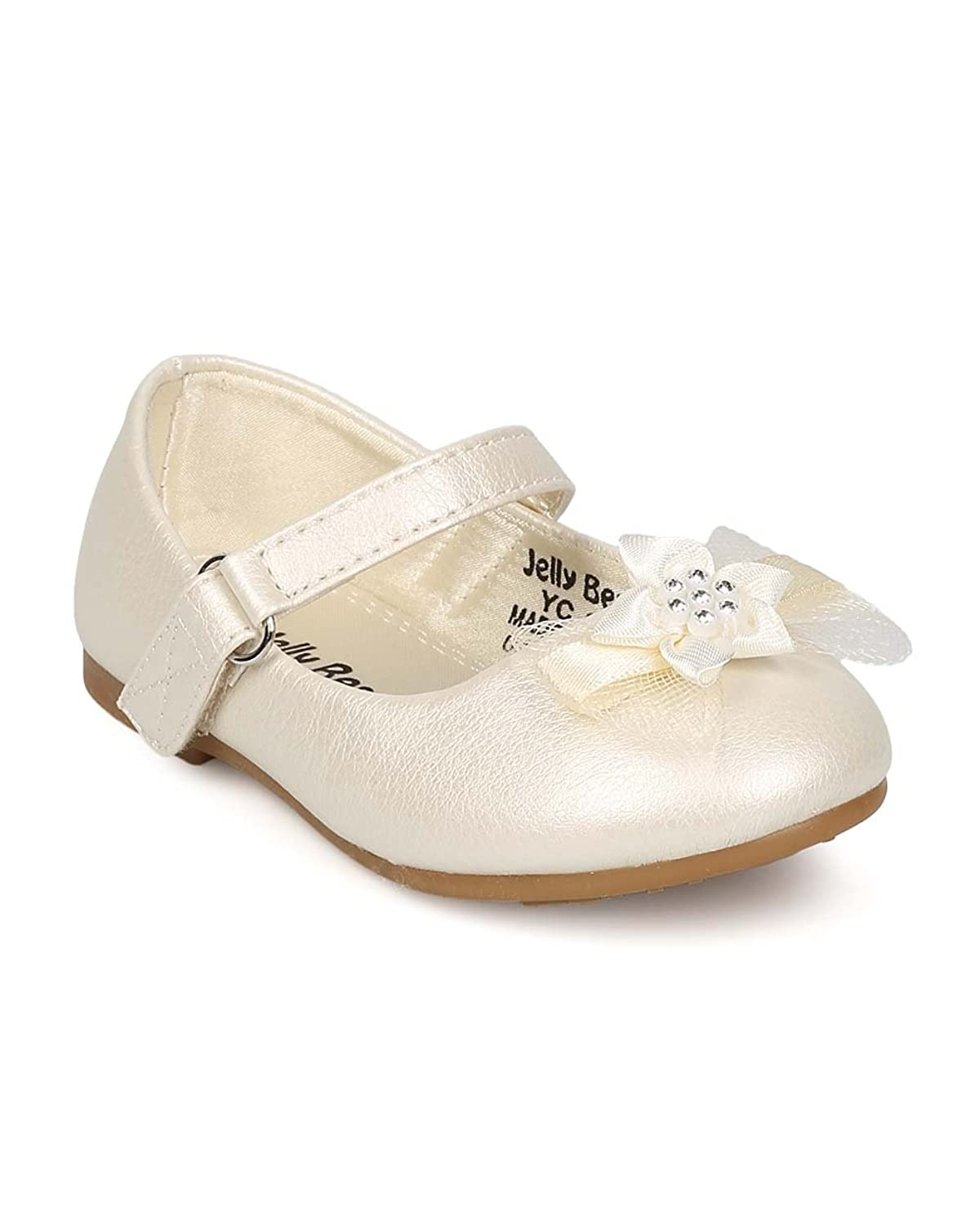 9d82caedd75 Alrisco EI37 Girl Leatherette Mesh Bow Mary Jane Ballerina Flat (Toddler) -  Pearl