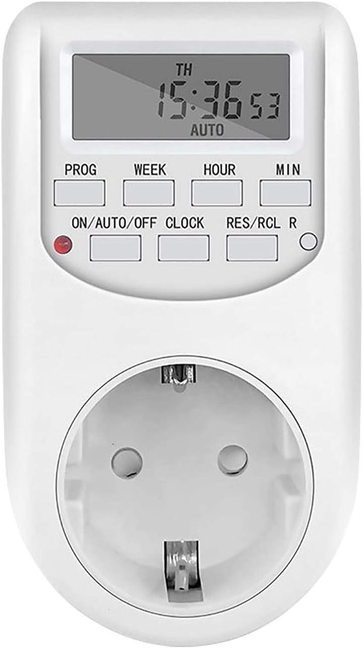 NICREW Temporizador Digital Programable, Enchufe Programador Diario / 10A/2000 W Semanal Digital Timer Ahorrar Energia y Dinero para Cocina, Electrodomesticos, Luz Acuario, Calentador de Agua