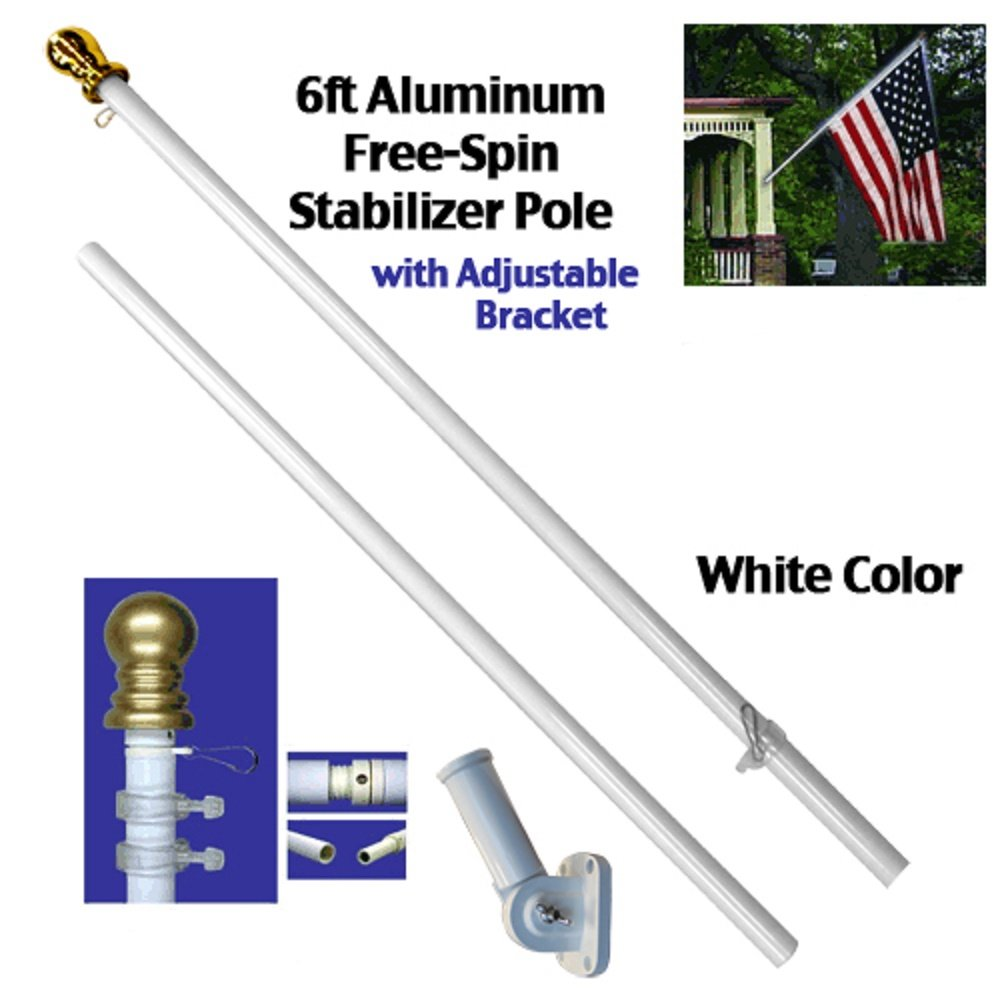 配送員設置 6/ブラケット ftアルミニウムSpinningスタビライザーPole 6 (ホワイト)フラッグポールゴールドボールW/ブラケット B01MSN2LYL, 宝蔵ギフト:f75fcbec --- kiddyfox.in