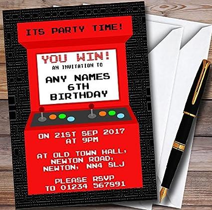 Amazon Com 10 X Red Arcade Gaming Personalized Childrens Birthday