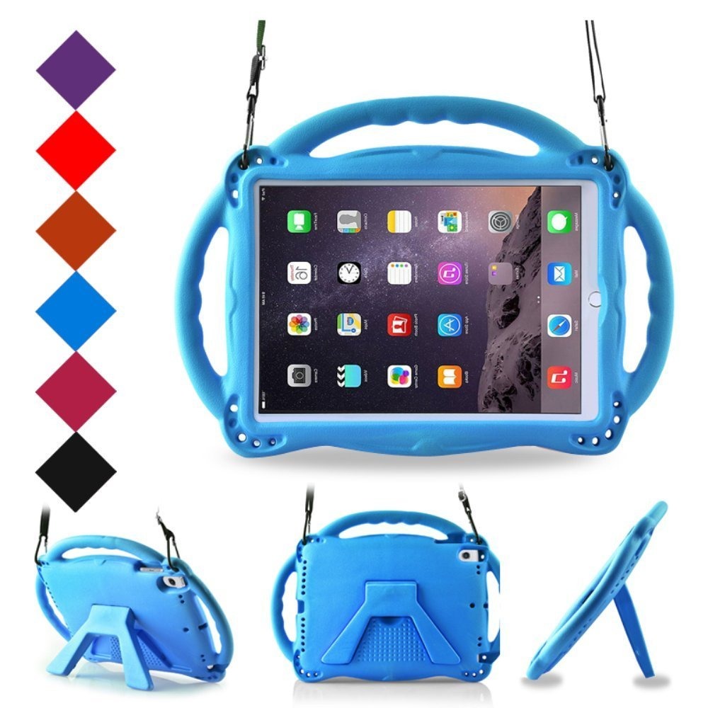 BMOUO Kids Case for New iPad 9.7 2017/2018 - Shoulder Strap Shockproof Handle Stand Case for Apple iPad 9.7 inch 2017 / iPad 9.7 inch 2018 / iPad Air/iPad Air 2 - Blue