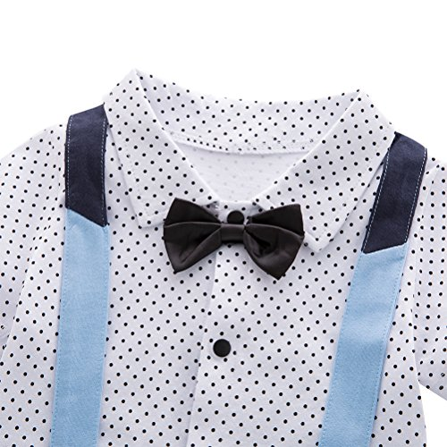 XM Nyan May's Baby Toddler Boys Short Sleeves Faux Suspenders Rompers Onesie