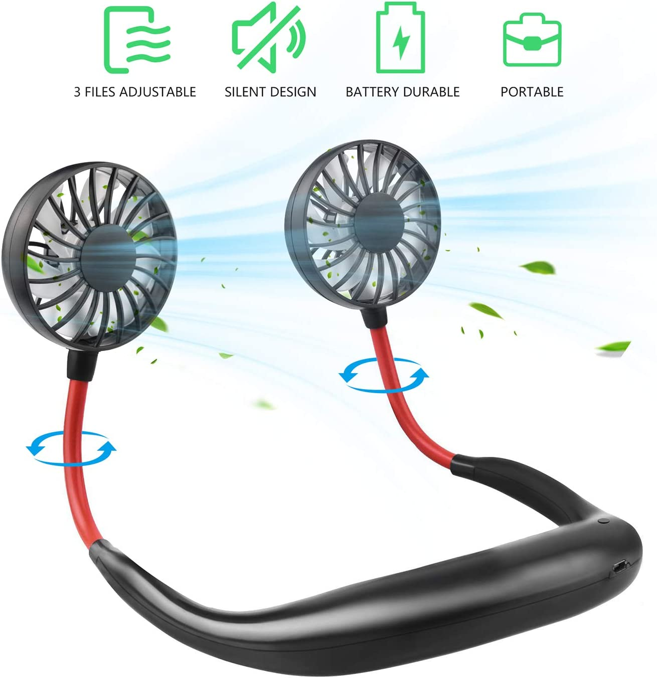 Hand-Free Personal Fan, Portable Neck Fan USB Rechargeable with 3 Level Speed Adjustable Headphone Mini Design Wearable Neckband Fan Cooling Desktop Dual Wind Head for Travel Sport and Office Room.