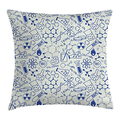 Ambesonne Children Throw Pillow Cushion Cover, Science Chemistry Geometry Math Nerd Geek and Genius Themed Design Artwork, Decorative Square Accent Pillow Case, 18 X 18 Inches, Blue and Ivory