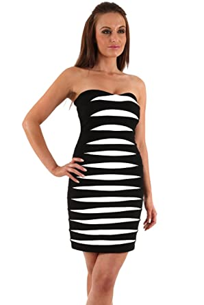 Blossoms Black White Strapless Contrast Insert Panel Bandage Bodycon Party Cocktail Dress - Uk Size 8