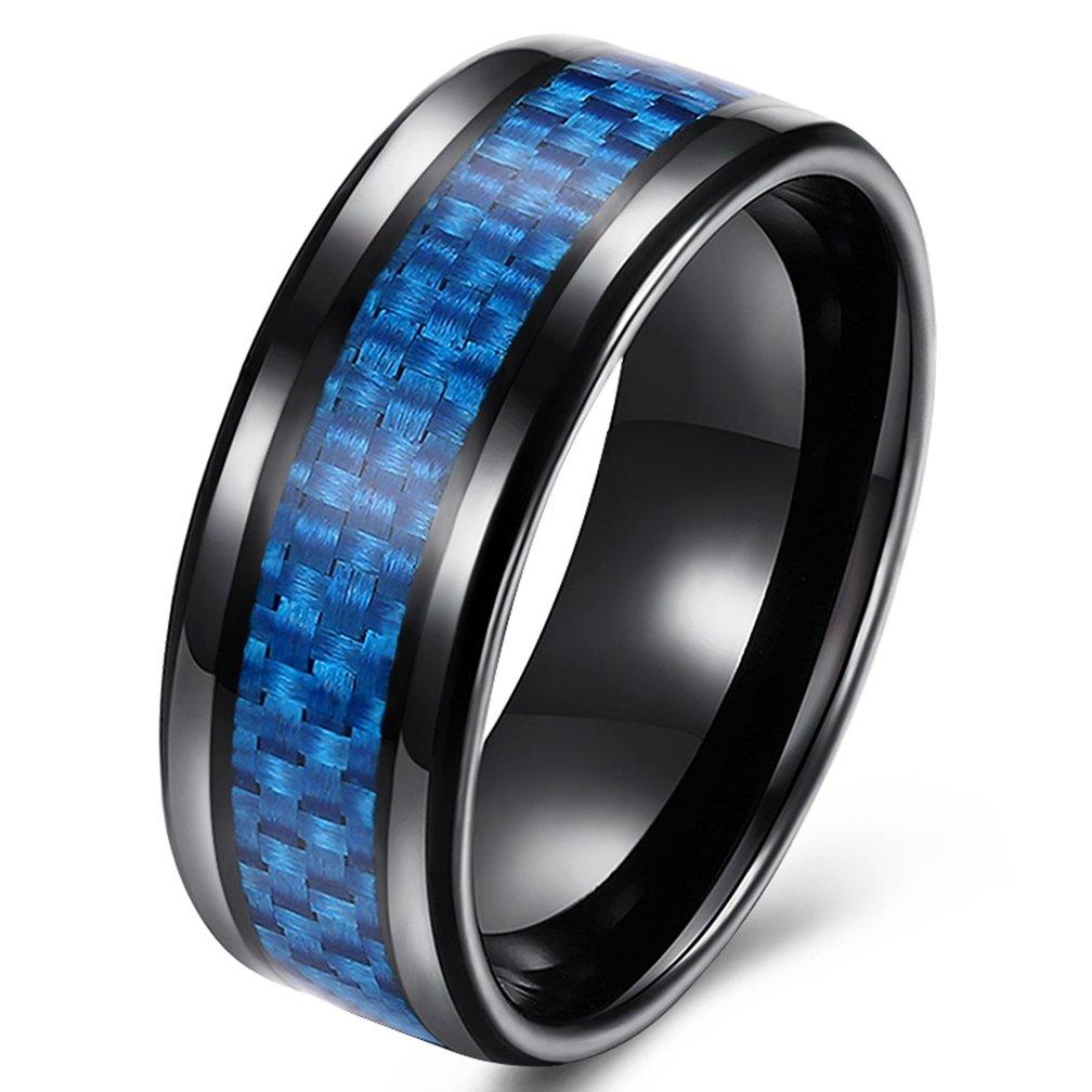 SAINTHERO Men's Traditional 8MM Wedding Bands Black Titanium Steel Blue Carbon Fiber Engagement Rings High Polish Comfort Fit Size 7