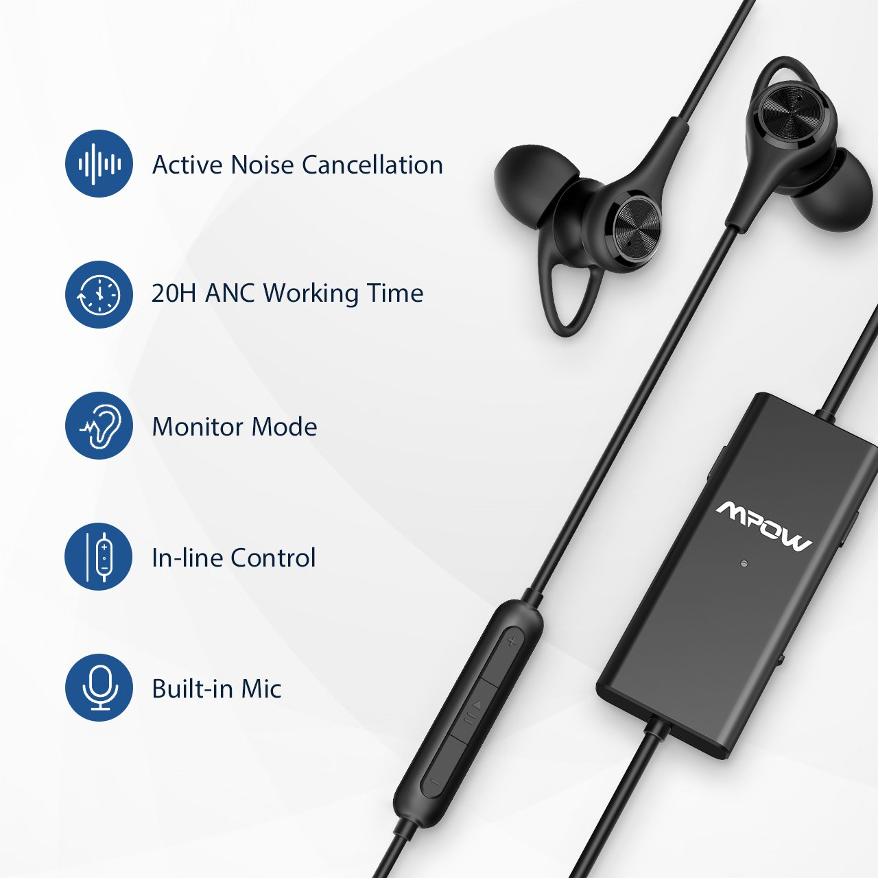 Mpow Active Noise Cancelling Headphones with Mic, Stereo Wired In Ear  Headphones, 20 Hours ANC Playtime Earphones with Awareness Monitor Mode,
