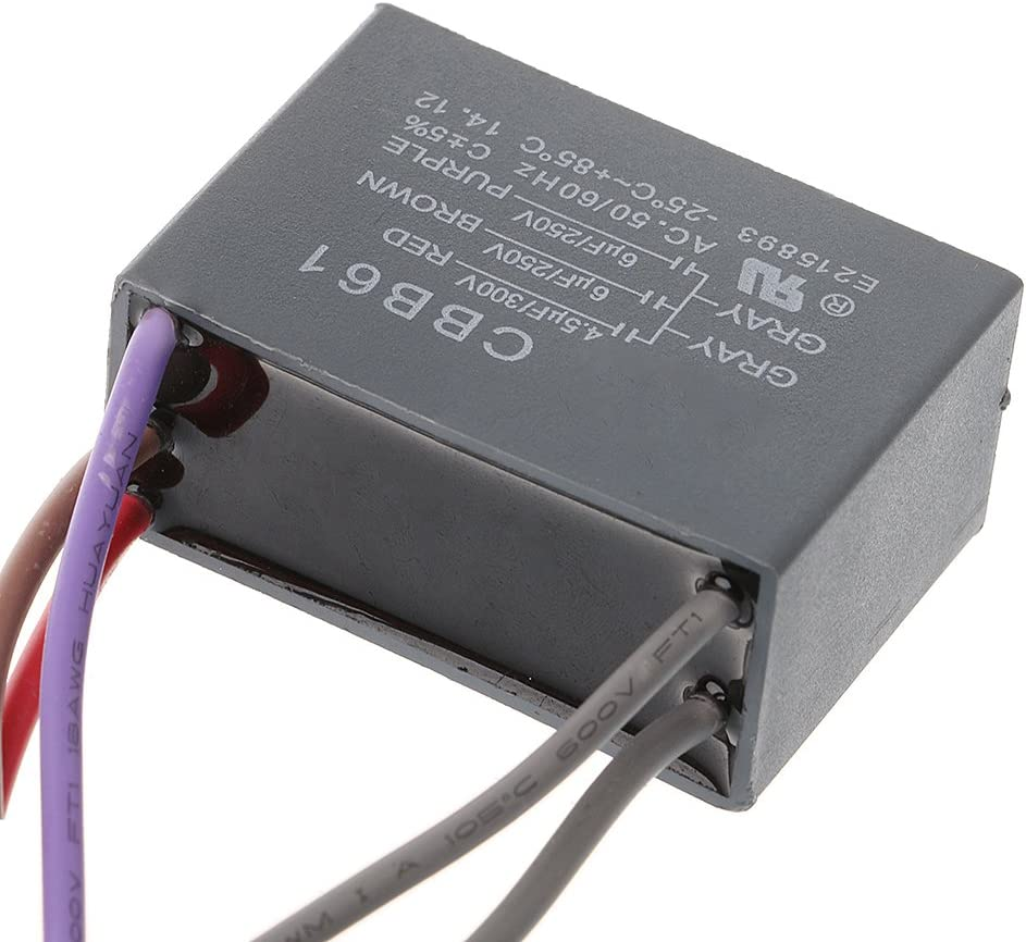 watersouprty CBB61 Ceiling Fan Capacitor 4.5uf+6uf+6uf 5 Wire 250V 5 Speed Starting Capacitor
