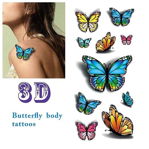 QUUY Tatuajes De Mariposas, Tatuajes Temporales Impermeables 3D ...