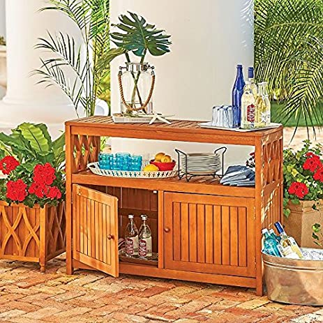Outdoor Natural Finish Eucalyptus Wood Buffet Server Cabinet Storage  Console Table Cupboard Patio Furniture