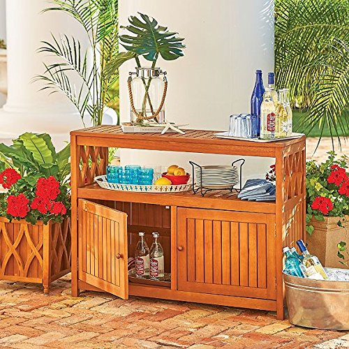 Outdoor Natural Finish Eucalyptus Wood Buffet Server Cabinet Storage Console Table Cupboard Patio Furniture from Home Improvements