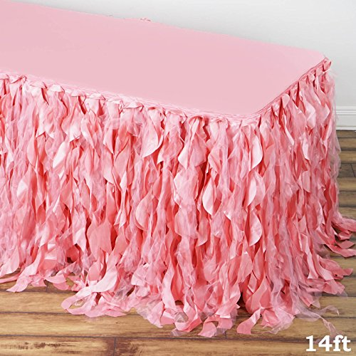 Tableclothsfactory 14ft Enchanting Curly Willow Taffeta Table Skirt - Rose -