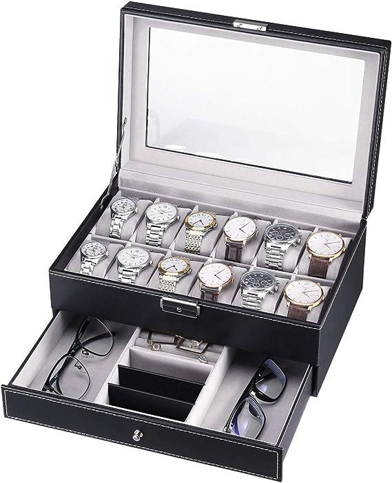 CRITIRON Caja para Relojes, Joyas e Gafas, Organizador de Relojes para Hombre, Exhibición de Gafas, 2 Capas Vitrina de Hebilla Metálica, Vidrio Acrílico: Amazon.es: Relojes