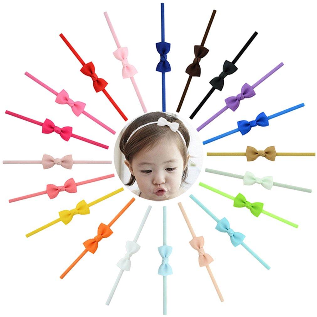 Boboder Fascia per capelli morbida elastica piccola dell'arco del nastro delle neonate per i bambini Infant 20pcs del bambino